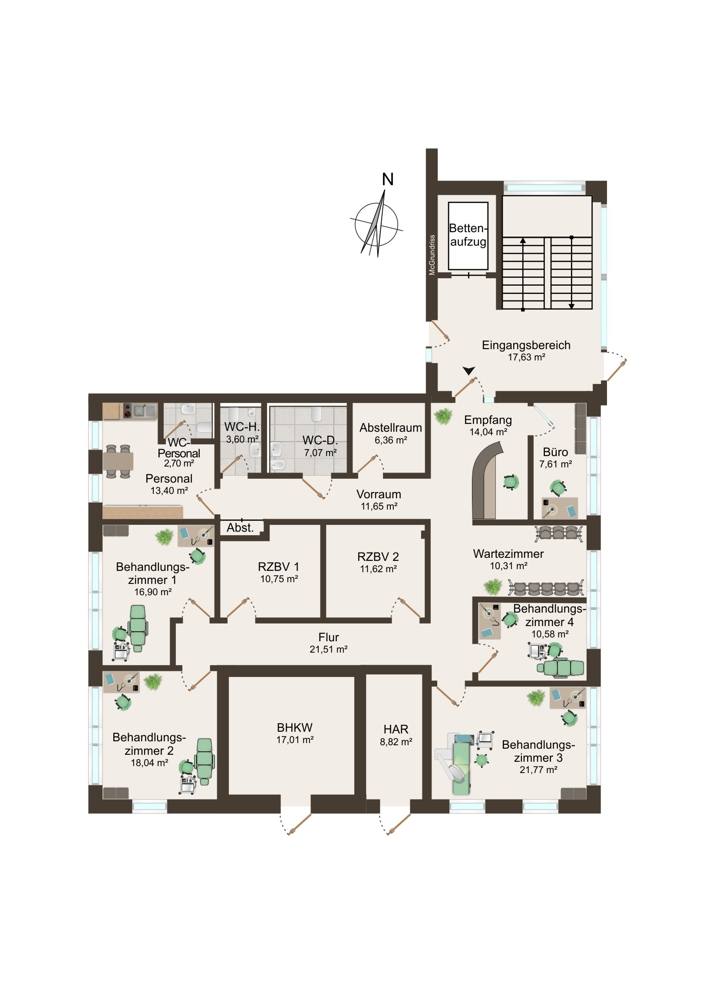 Grundriss Praxis 2 (EG) - 196 m²