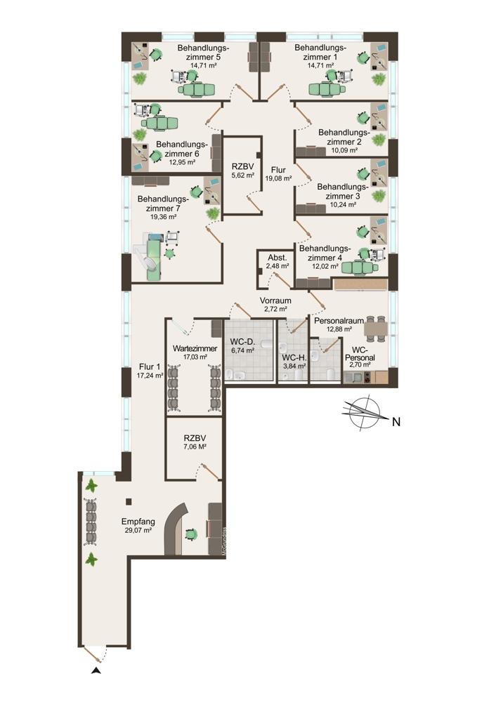 Grundriss Praxis 3 (1.OG) - 225 m²