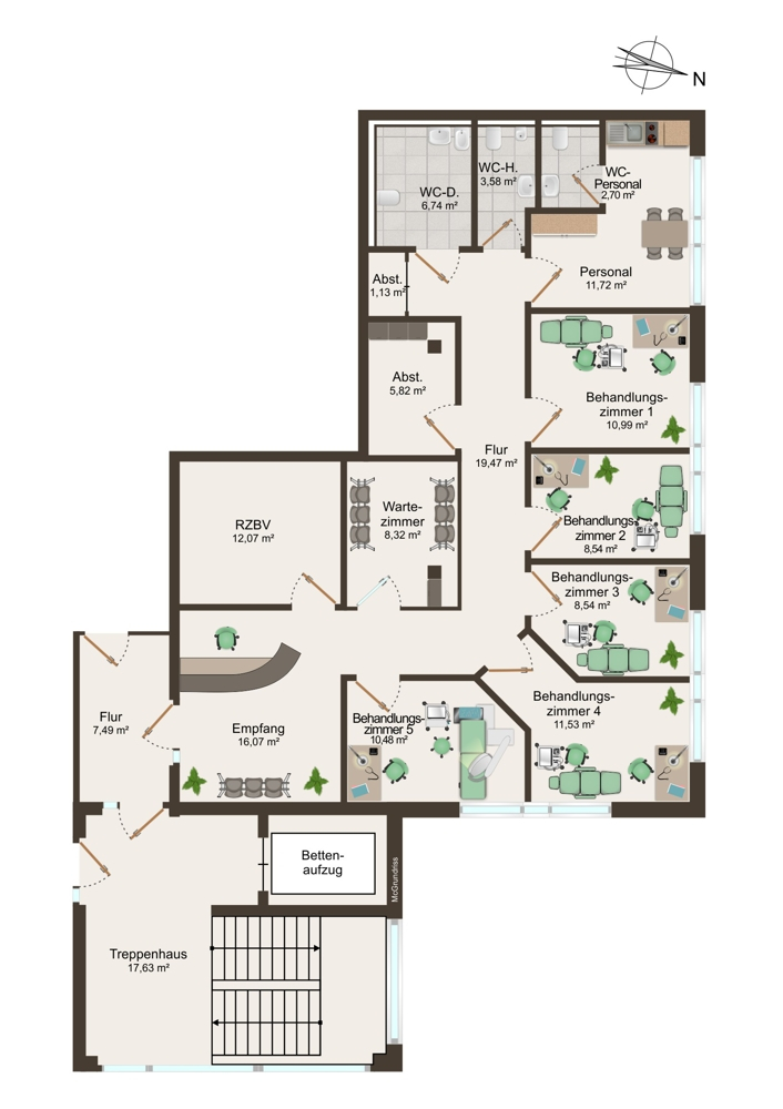 Grundriss Praxis 4 (1. OG) - 144 m²