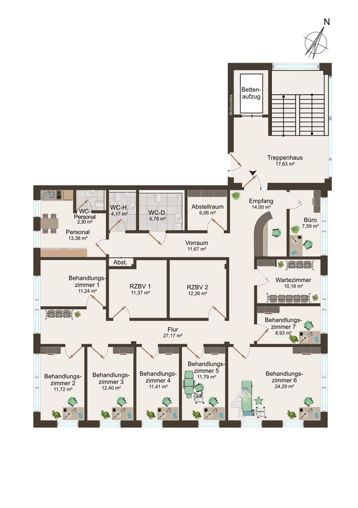 Grundriss Praxis 5 (1. OG) - 230 m²