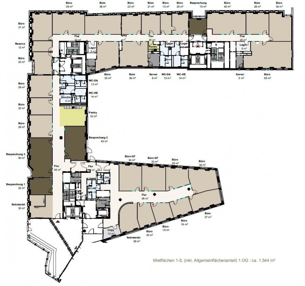 Grundriss 1. OG Sumatrakontor (ca. 1.544 m²)