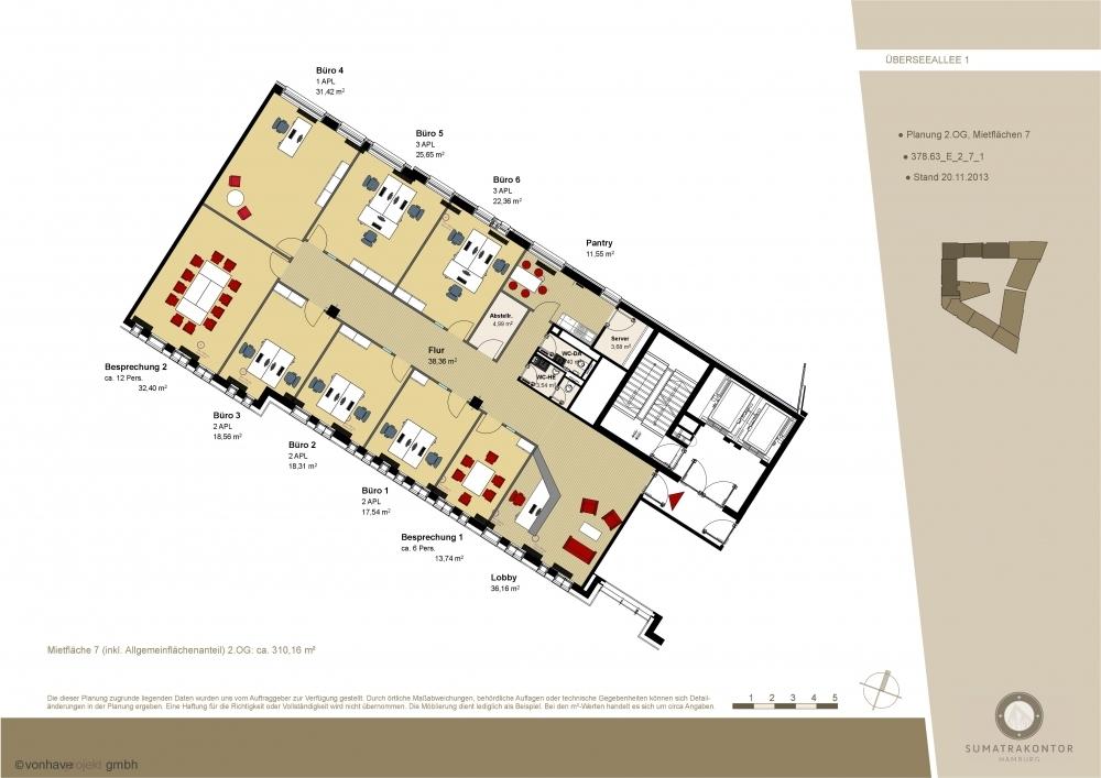 Grundriss 2. OG Musterplanung (ca. 310 m²)