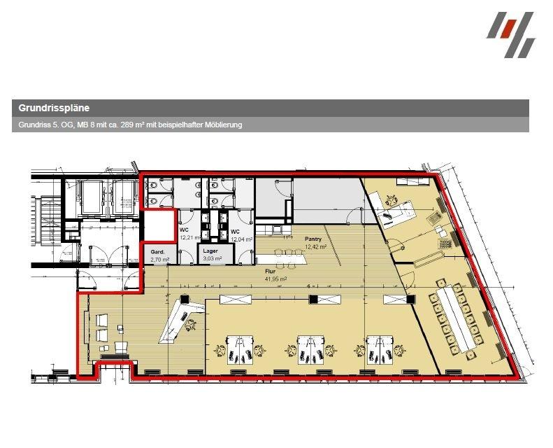 Grundriss 5. OG Sumatrakontor (ca. 289 m²)