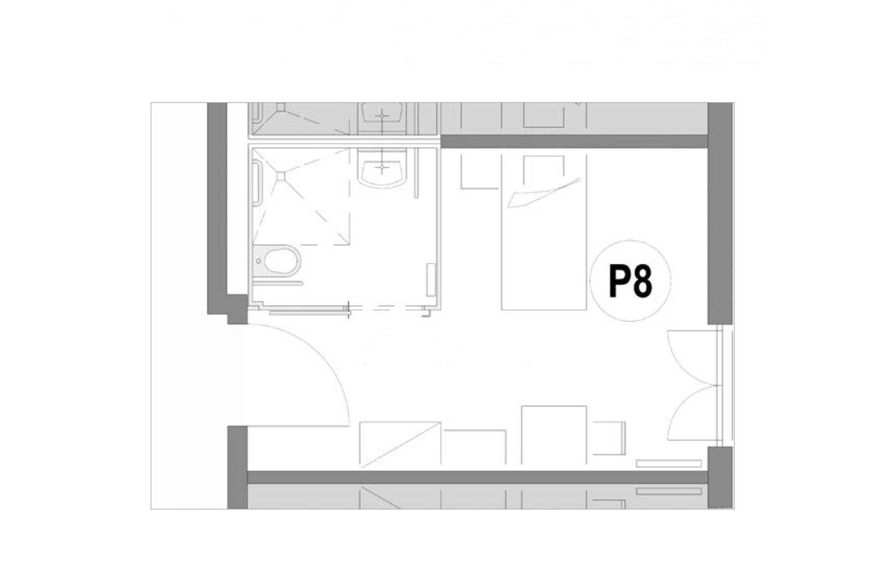 Grundriss Zimmerbeispiel P8