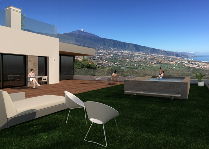 Luxus-Terrassen mit Teide- und Meerblick