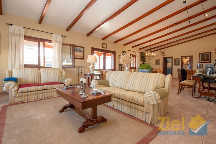 Einladender Wohnraum mit hoher Decke