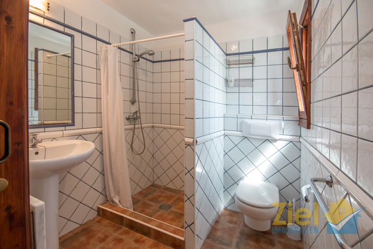 Helles Badezimmer mit Eckdusche