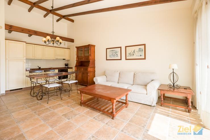 Gemütlicher Wohnraum mit Küchenzeile