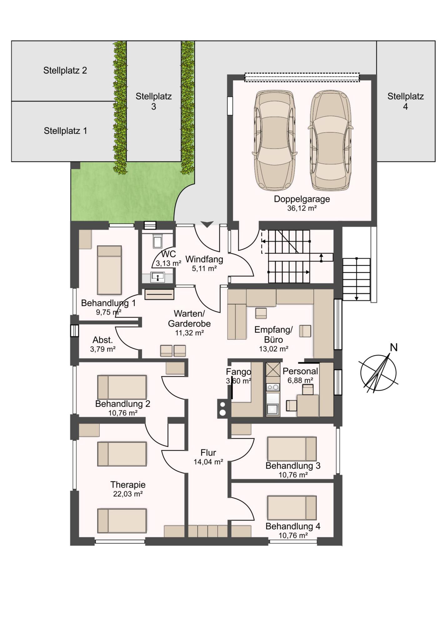 Erdgeschoss - Praxis - Büro