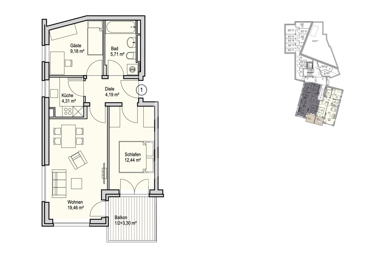 Grundriss, INN81, BAIII, Wohnung 1