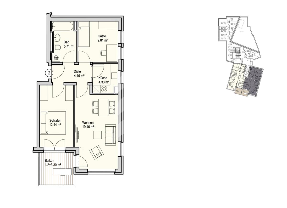 Grundriss, INN81, BAIII, Wohnung 2