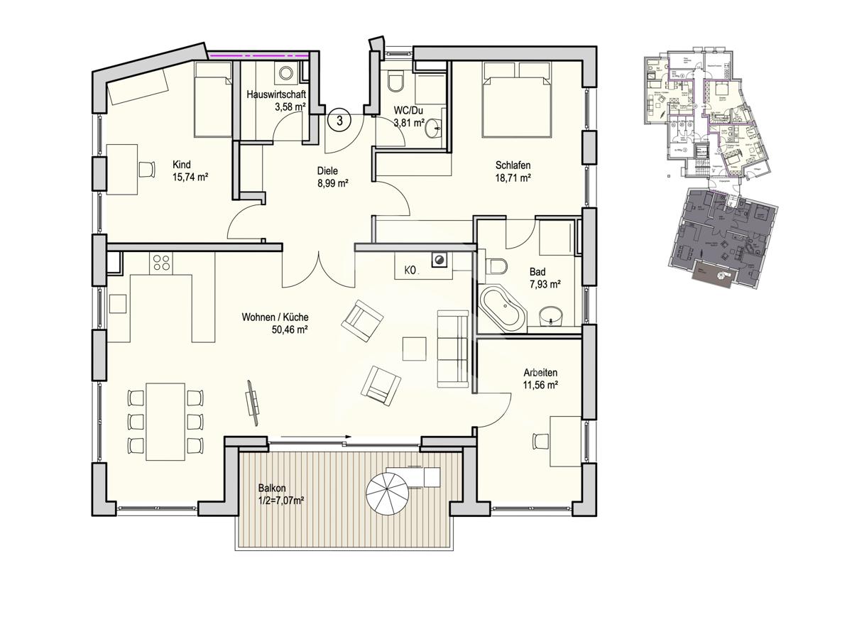 Grundriss, INN81, BAIII, Wohnung 3