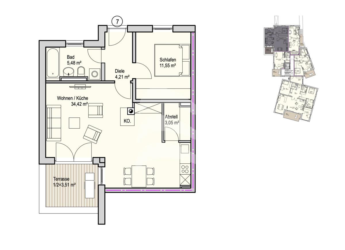 Grundriss, INN81, BAIII, Wohnung 7