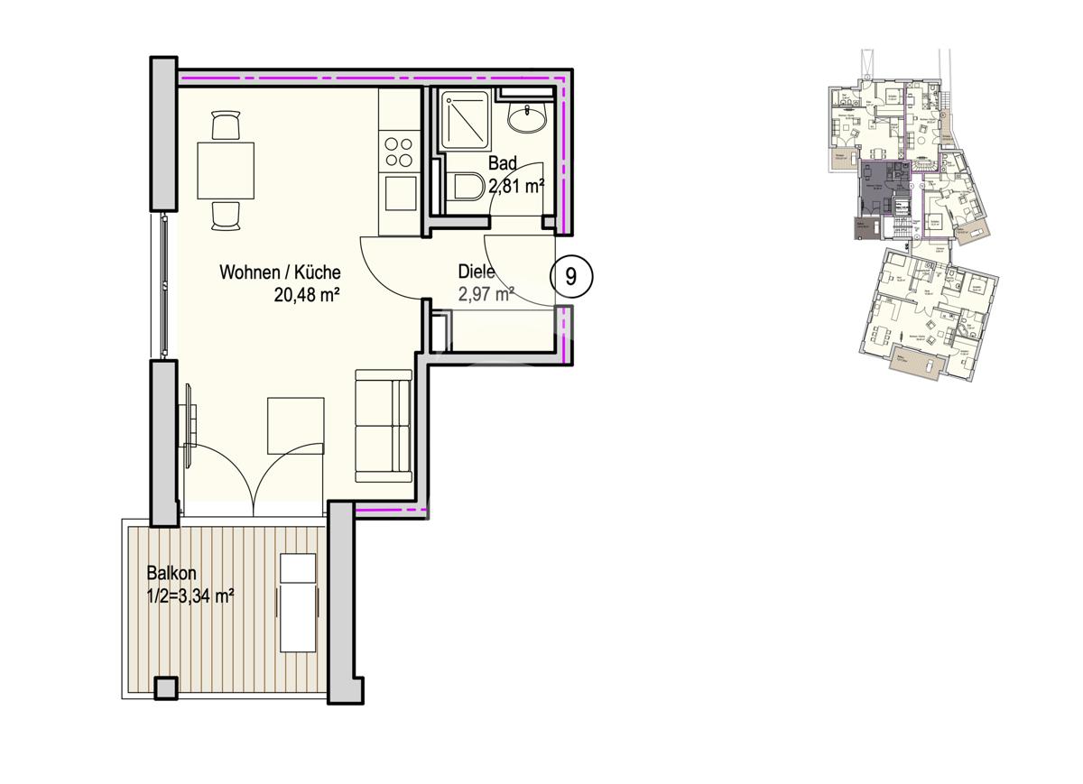 Grundriss, INN81, BAIII, Wohnung 9