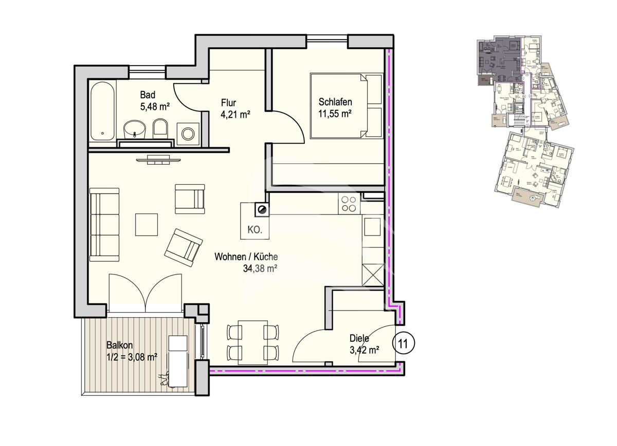 Grundriss, INN81, BAIII, Wohnung 11