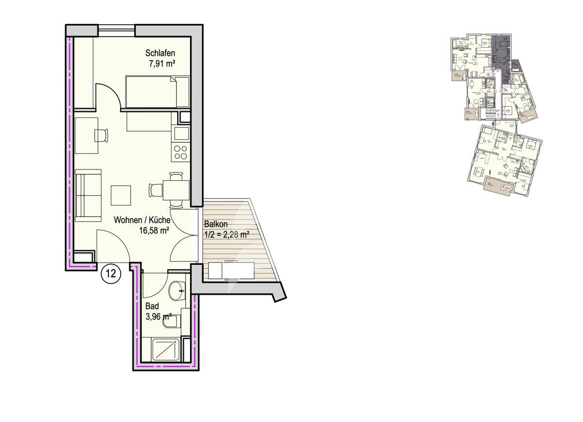 Grundriss, INN81, BAIII, Wohnung 12