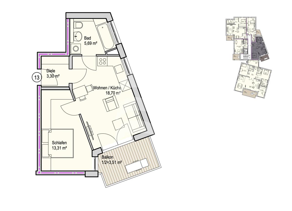 Grundriss, INN81, BAIII, Wohnung 13