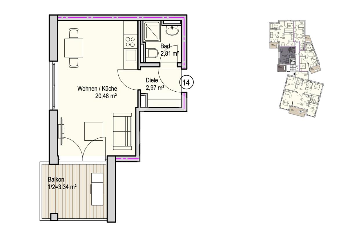 Grundriss, INN81, BAIII, Wohnung 14