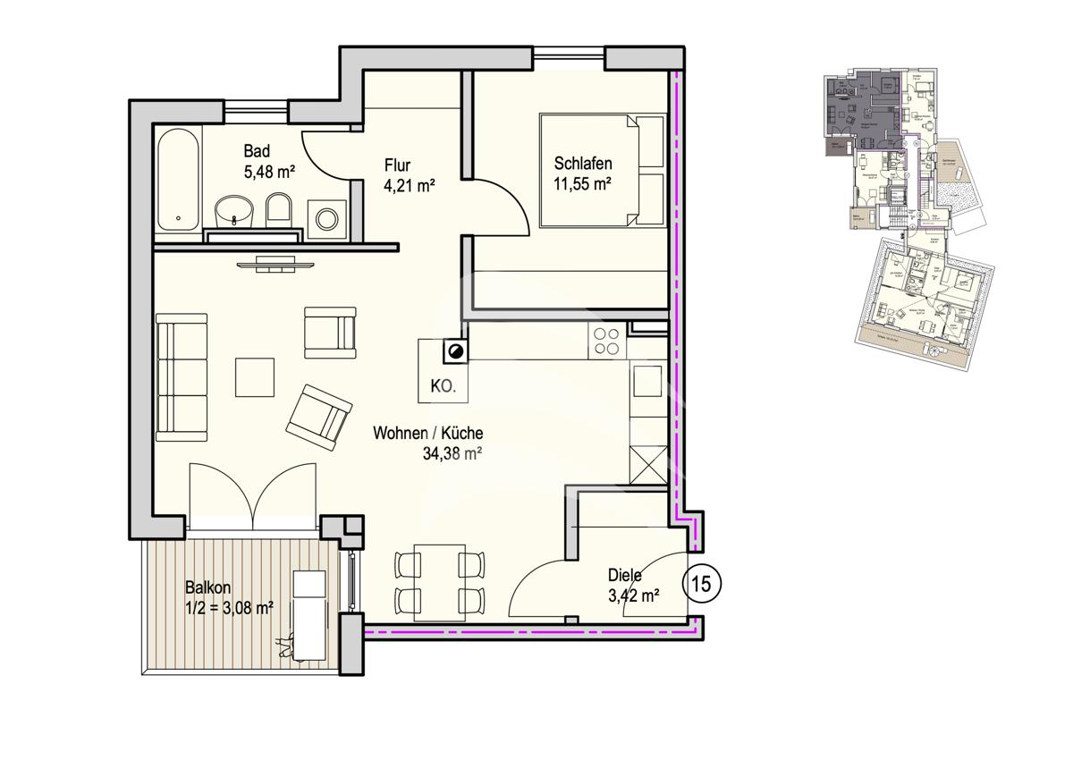 Grundriss, INN81, BAIII, Wohnung 15