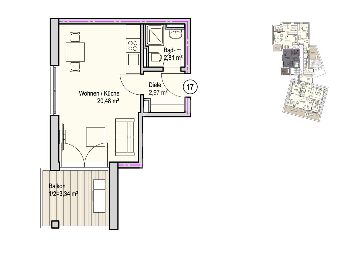 Grundriss, INN81, BAIII, Wohnung 17