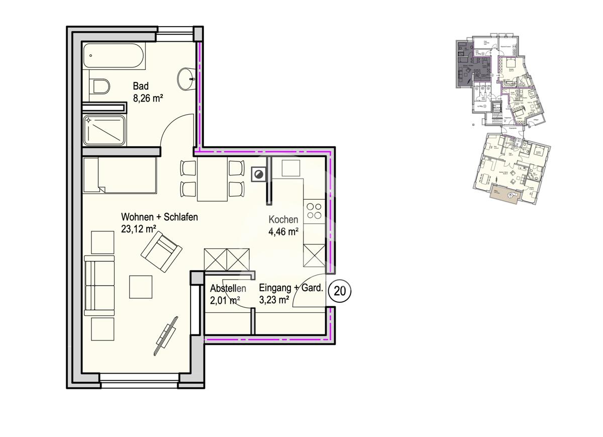 Grundriss, INN81, BAIII, Wohnung 20