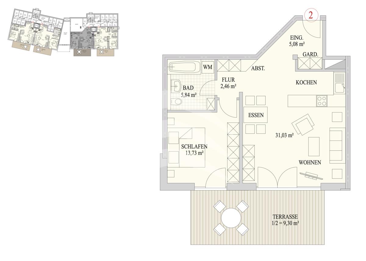 Grundriss, INN81, BAIV, Haus9, Wohnung 2