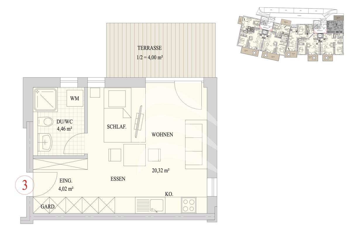 Grundriss, INN81, BAIV, Haus9, Wohnung 3