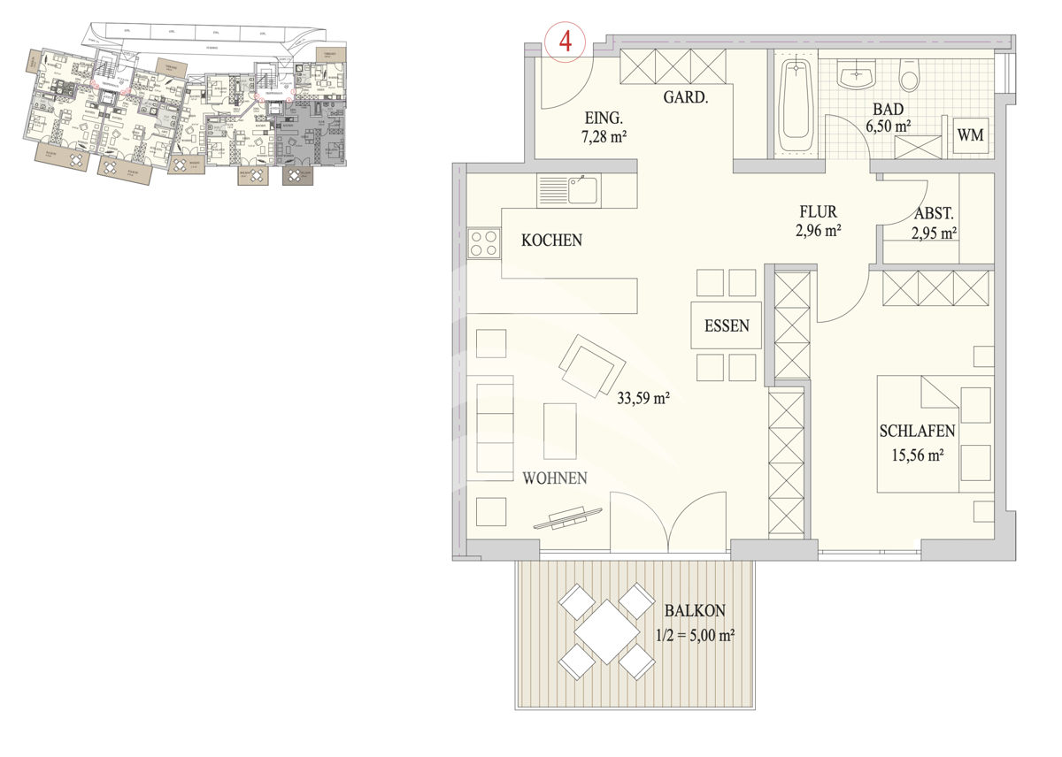 Grundriss, INN81, BAIV, Haus9, Wohnung 4