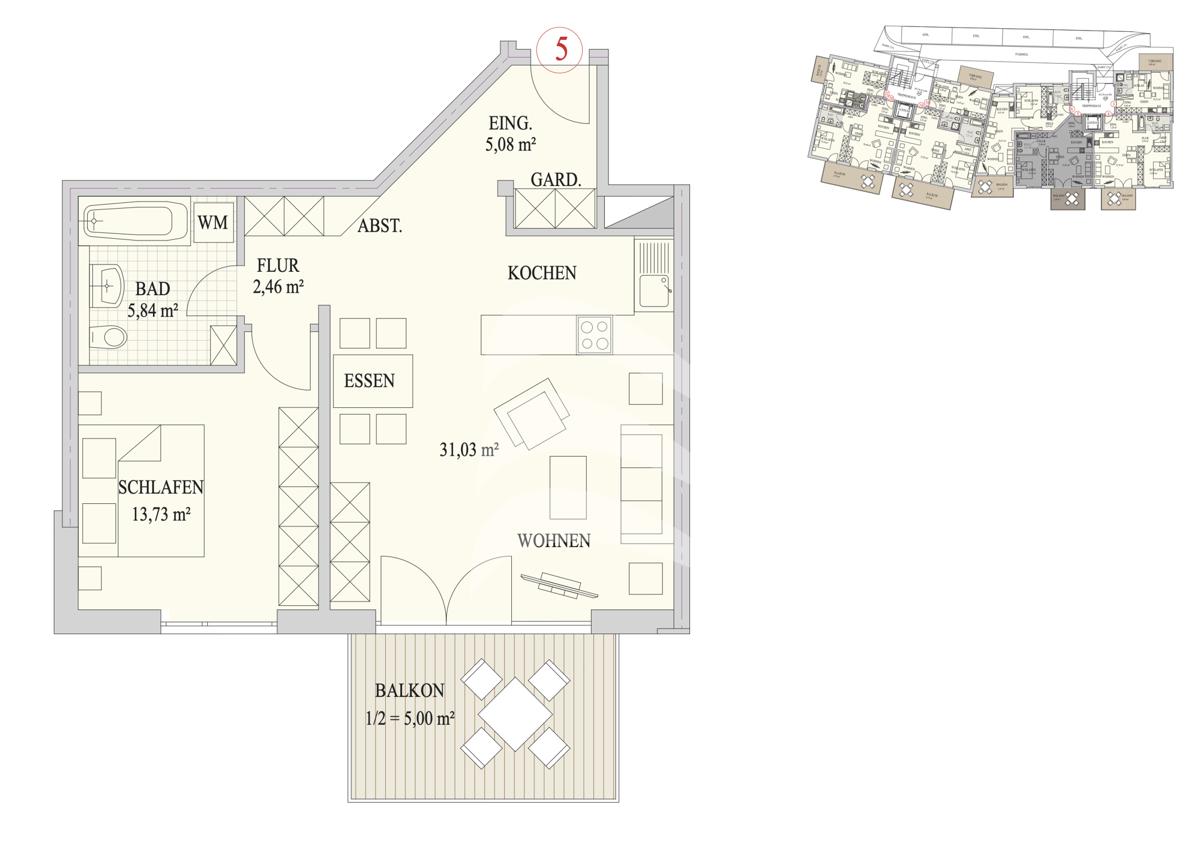 Grundriss, INN81, BAIV, Haus 9, Wohnung 5