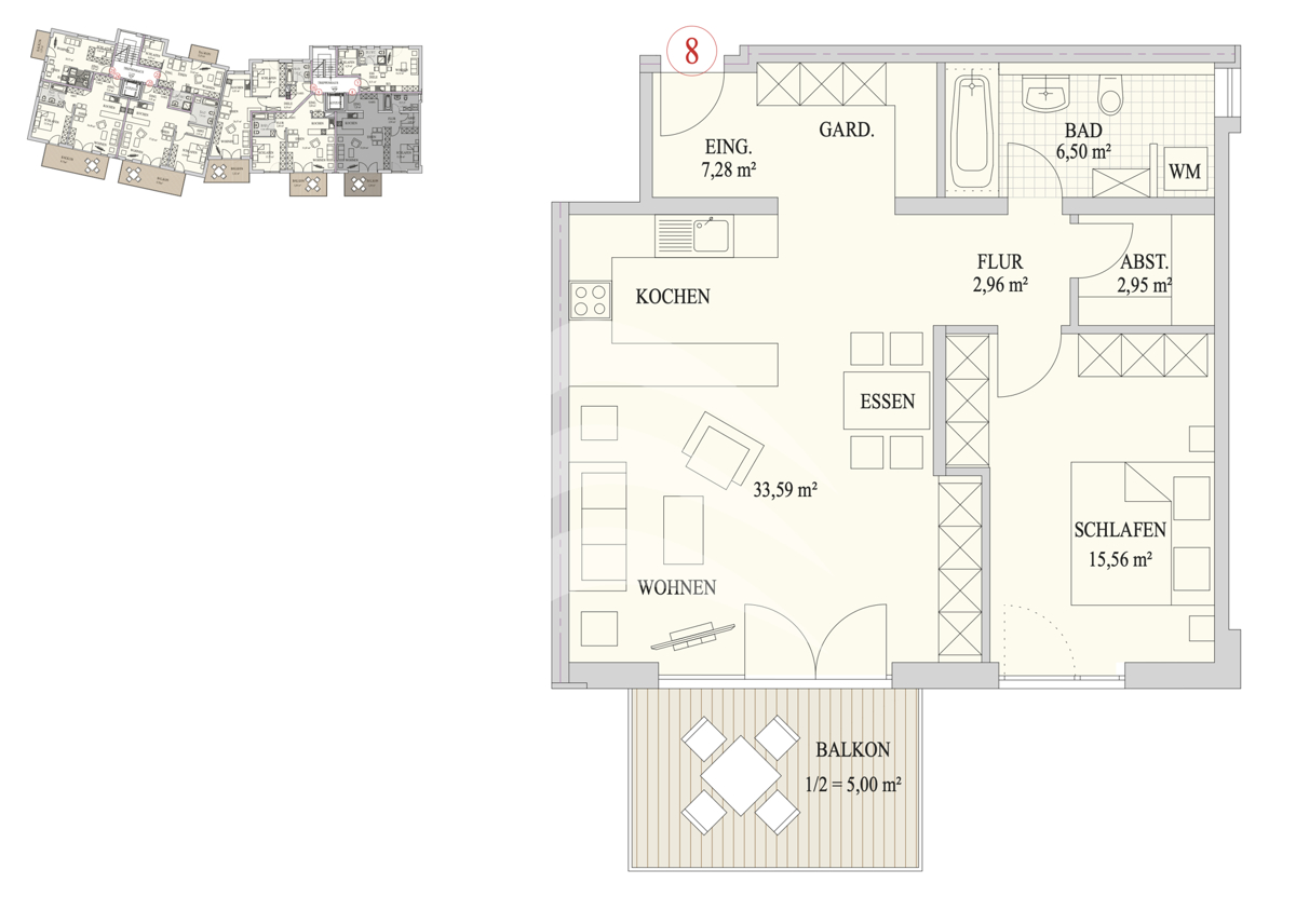 Grundriss, INN81, BAIV, Haus 9, Wohnung 8