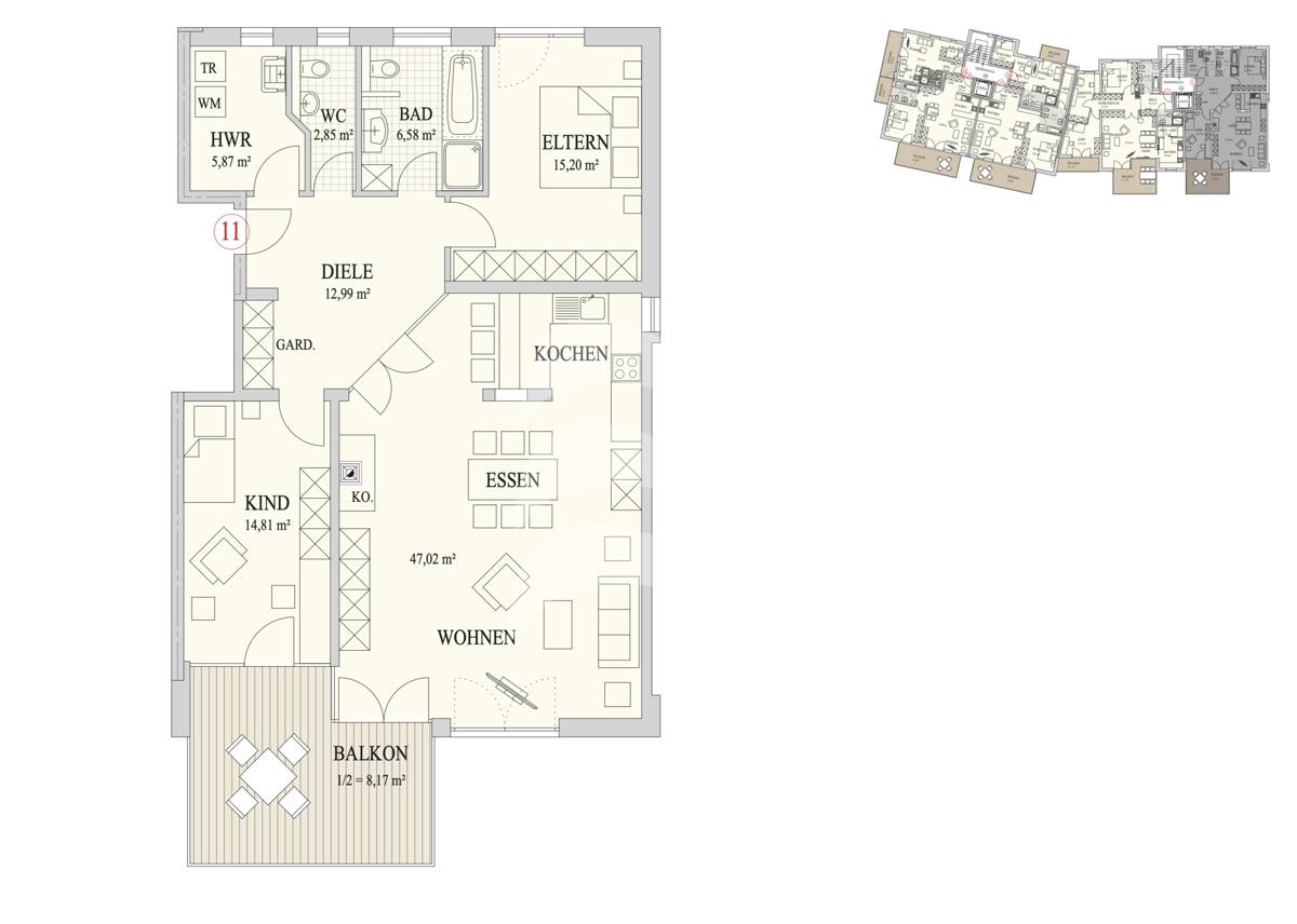 Grundriss, INN81, BAIV, Haus 9, Wohnung 11