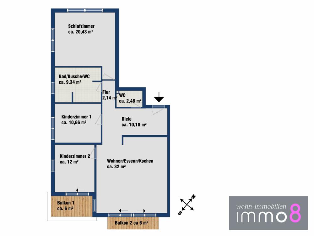 Grundriss mit 2. Kinderzimmer