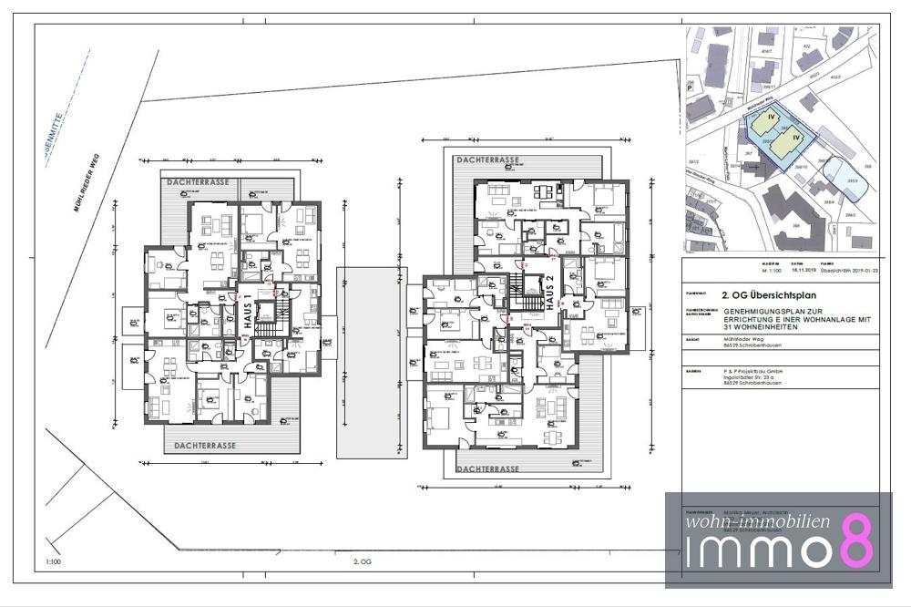 2. Obergeschoss Haus 1 und 2