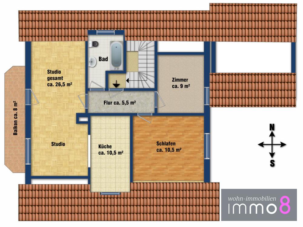 Dachgeschoss (enthält Abweichungen vom Bauplan)