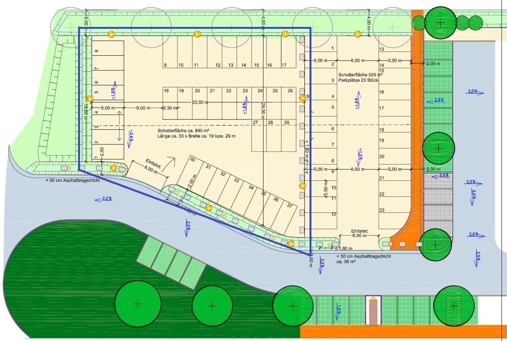 Schotterfläche 840 m²