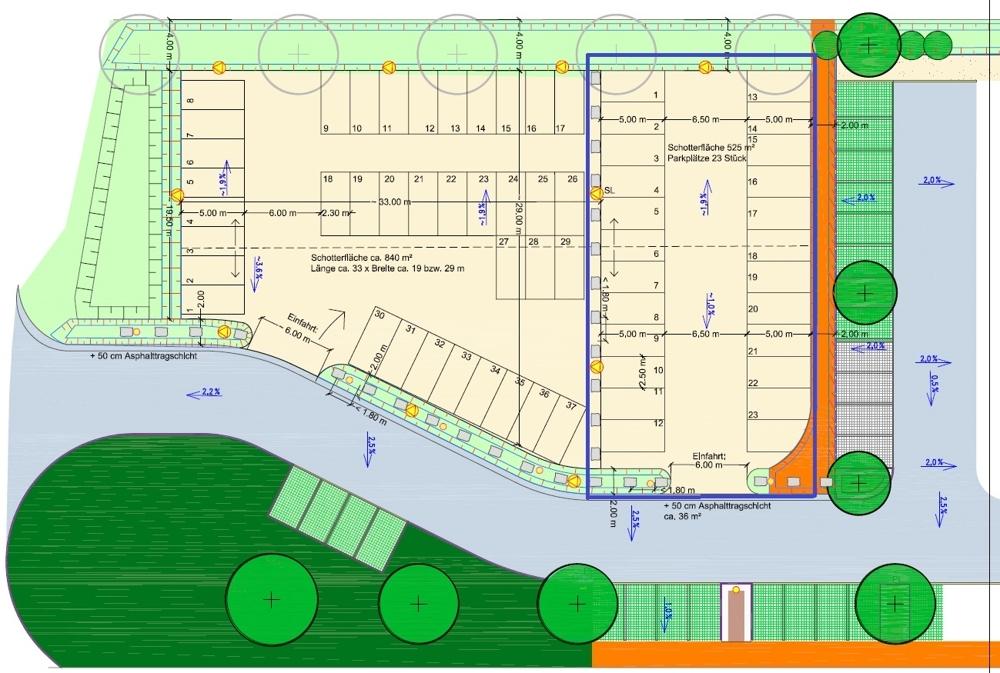 Schotterfläche 525 m²