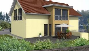 EFH - Hanglage - Wiesthal_3D.Terrassenansicht EG