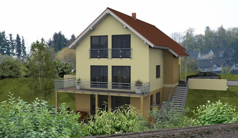 EFH - Hanglage - Wiesthal_3D.Gartenansicht