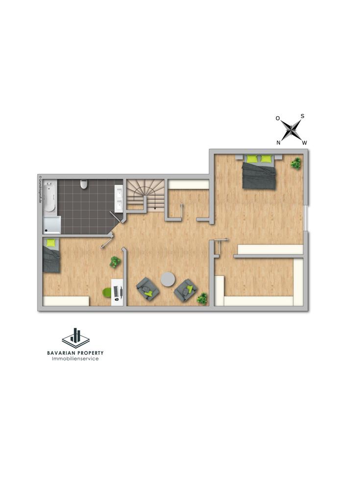 Dachgeschoss (dem Grundriss ist lediglich die Raumaufteilung zu entnehmen)