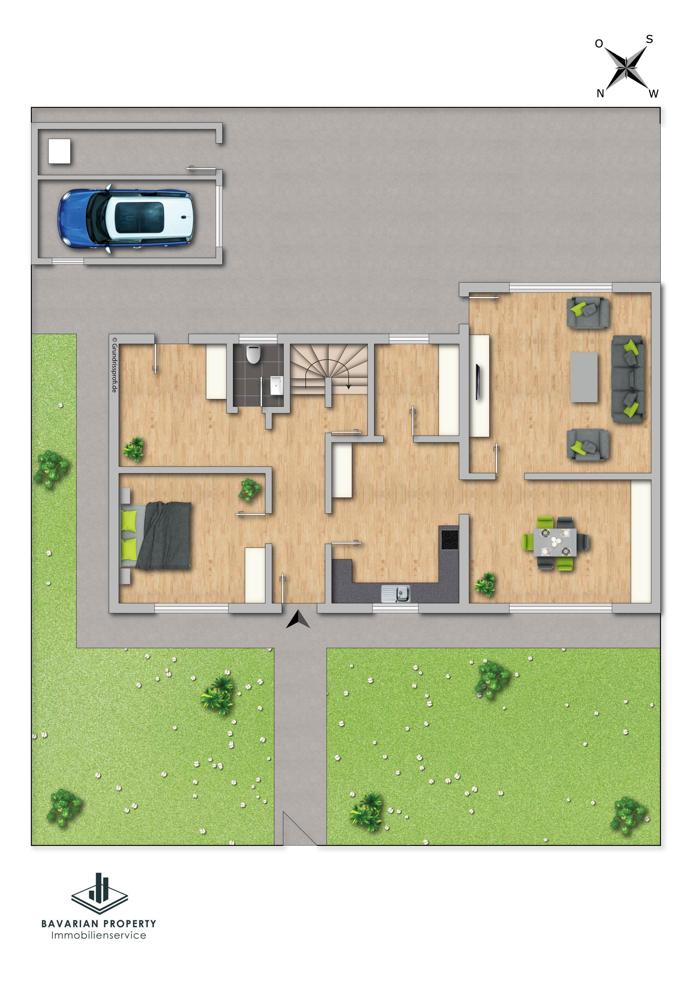 Erdgeschoss (dem Grundriss ist lediglich die Raumaufteilung zu entnehmen)