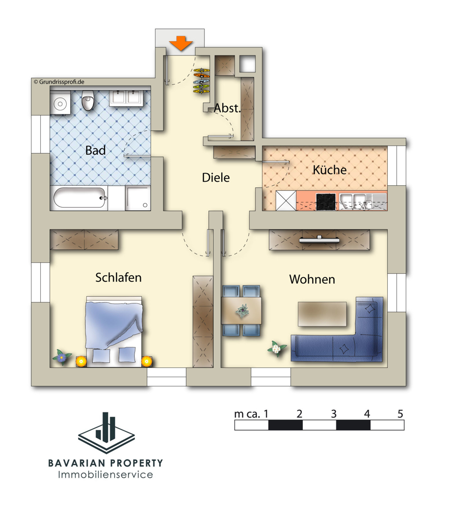 Dem Grundriss ist lediglich die Aufteilung der Wohnung zu entnehmen.