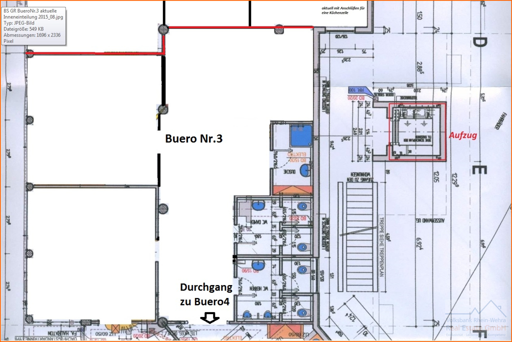 BüroNr.3 aktuelle Inneneinteilung