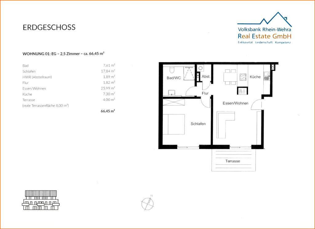 Grundriss Erdgeschoss links- Wohnung 01