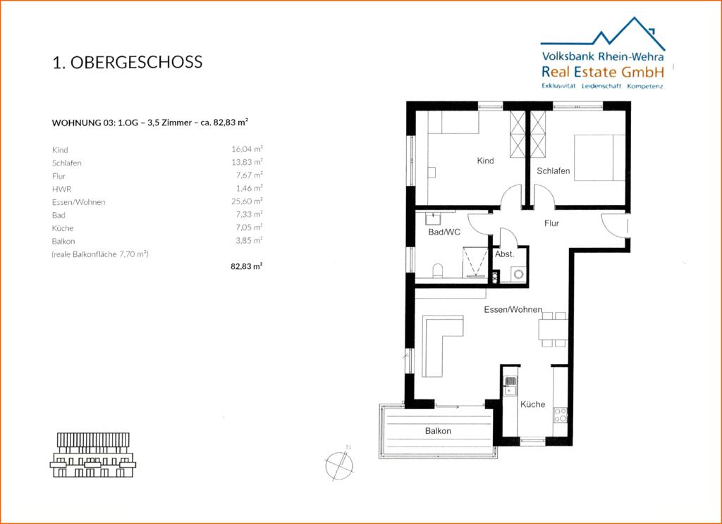 Grundriss 1.Obergeschoss links- Wohnung 03