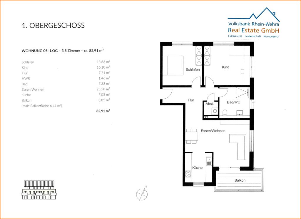 Grundriss 1.Obergeschoss rechts- Wohnung 05