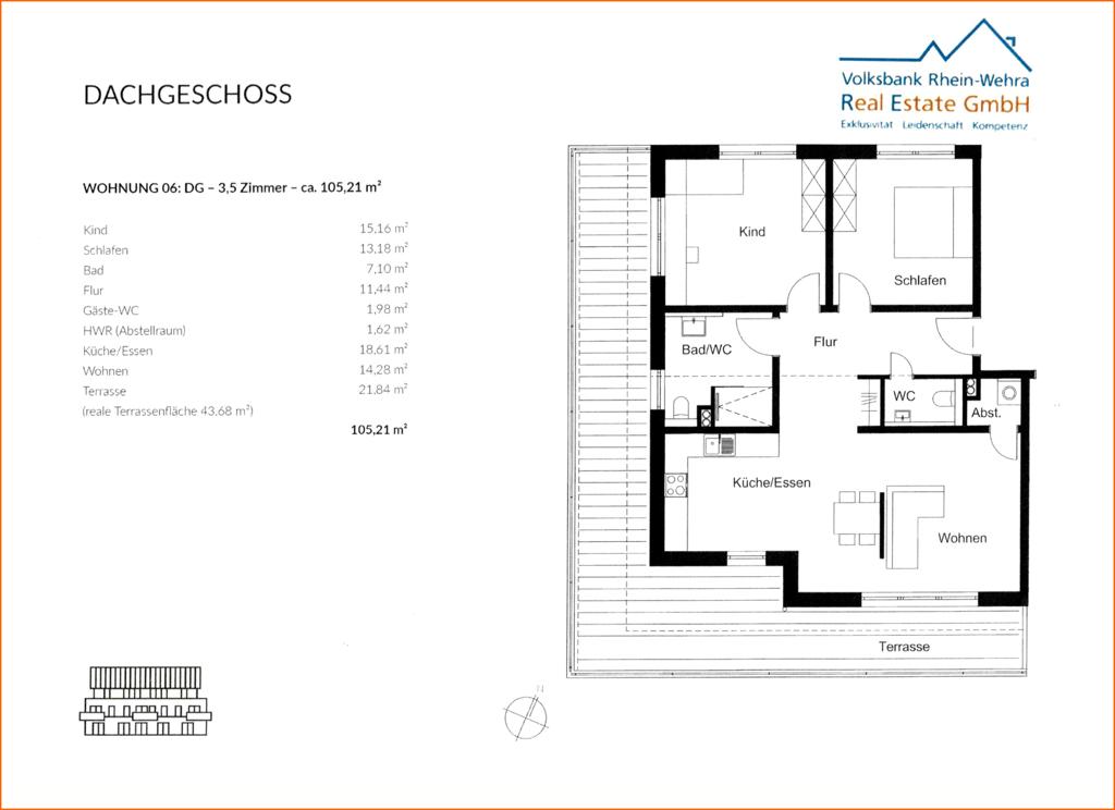 Grundriss Dachgeschoss links- Wohnung 06