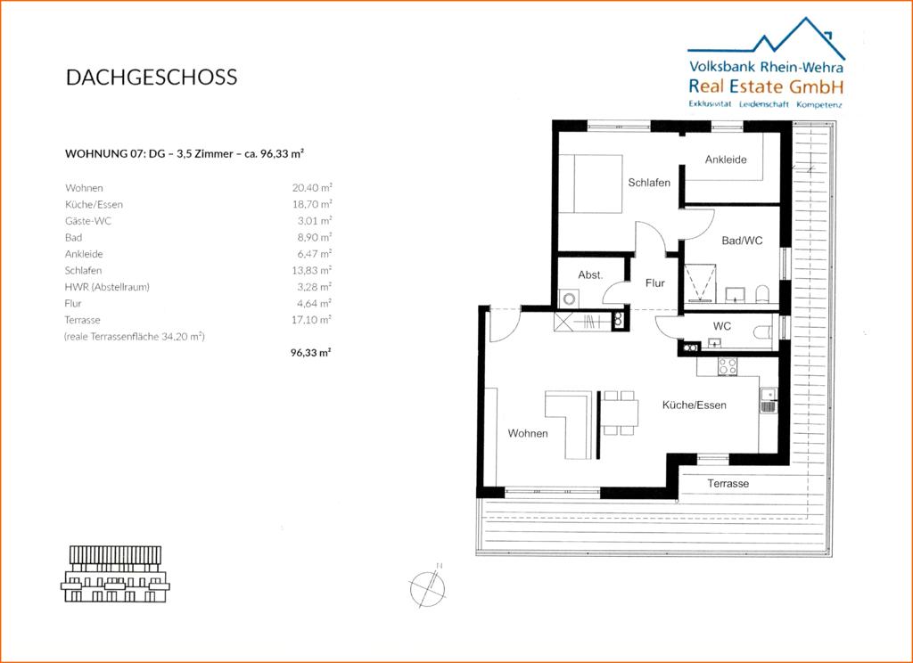 Grundriss Dachgeschoss rechts - Wohnung 07
