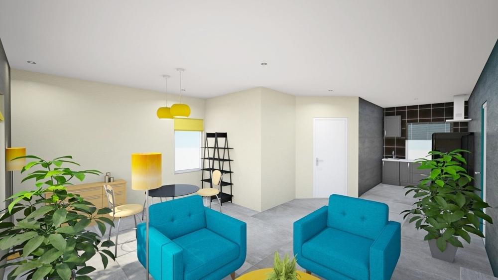 Wohn-Küchenbereich visualisiert